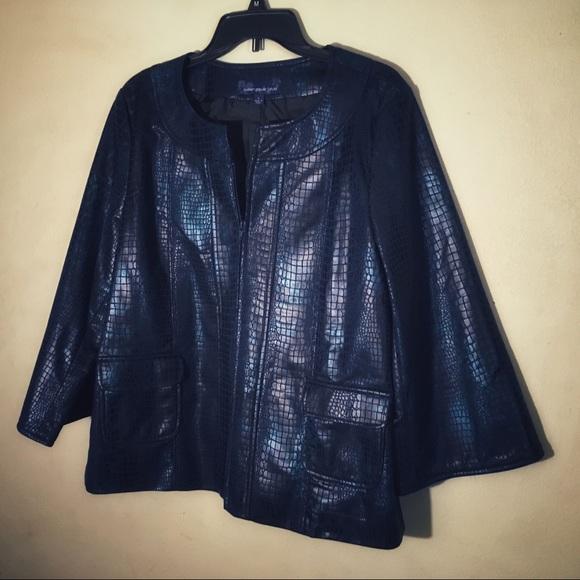 Susan Graver Jackets & Blazers - Susan Graver Blue Snakeskin Print Jacket, Sz L